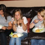Maria, Gina and Aimee enjoy their dinner.