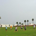 Goshen College students play soccer at Kawai.