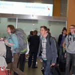 Miranda, Leah, Timothy, Matt and other students emerge from customs at the Lima airport.