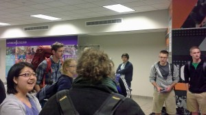 Students, family and friends gather in the Union building for the send-off of students to Peru and Nicaragua.