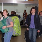Emma, Brody and other students emerge from customs at the Lima airport.