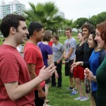 Andrew, Sierra, Alejandro, Edith and other students quickly repeat each other's names.