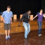 Camilo Ballumbrosio teaches Jaime, Derek, Leah and Lucas how to tap dance.