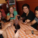 Matt, Tim, Emma, Derek and Alejandro enjoy a drink at Bar Cordano.