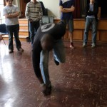 Camilo Ballumbrosio shows students an especially difficult tap dance move.