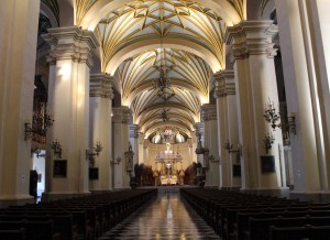 A view toward the main altar in the Cathedral of Lima.