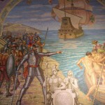 A mural depicting a pivotal moment in the conquest of Peru. Francisco Pizarro gave his soldiers the option of continuing with him or returning to Spain.
