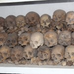 Skulls on display in the crypt of the Cathedral of Lima.