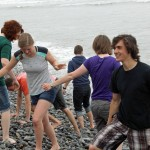 Students on the stony beach in Miraflores.