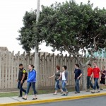 On the way on a Miraflores street to the entrance of the Huaca Pucllana