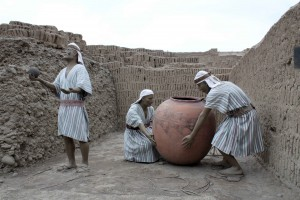 Figures show the practice of smashing a ceremonial pot to inaugurate a new structure.