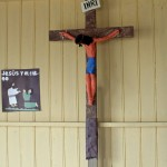 A crucifix inside the Anglican mission.