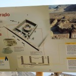 A sign describing a sacred temple at Caral.