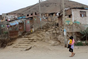 The steps leading to an impoverished hillside neighborhood in Puente Piedra.