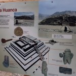 A sign describing a pyramid at Caral.