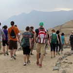 Students walk toward the Great Pyramid.