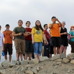 Students gaze out at Caral.