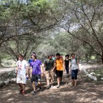 Tim, Lucas, Derek, Alejandro, Edith, Emma and other students hike to Caral.