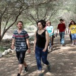 Stefan, Edith, Leah, Brody, Miranda other students hike to Caral.