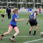 Emma and Lucas move toward the ball.