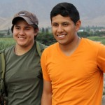 Derek and Alejandro pause for a photo after their hike from Caral.