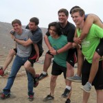Tim, Joel, Lucas, Michael, Derek and Alejandro have some fun.
