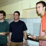 Brody, Brian and Joel make sandwiches