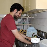 Andrew does the dishes