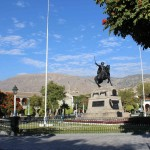 The main plaza in Ayacucho features a statue of General Antonio José de Sucre, who commanded an army that defeated royalist forces and set the stage for independence of Peru and the rest of South America from Spain.