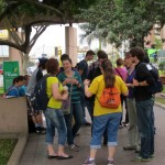Students gather at Parque Kennedy in the Miraflores district of Lima before walking to the Casa Museo Ricardo Palma.