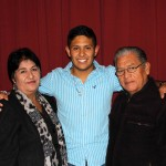 Alejandro with his host parents, Livia and Benjamin Salas Aguirre.