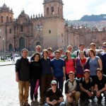 The Summer 2014 Peru SST group in the Plaza Central of Cusco, with the cathedral in the background.