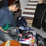 Lucas concludes his packing.