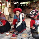 Weavers in a Chinchero textile workshop show us how alpaca wool is dyed with natural ingredients.