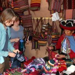 Leah and Sierra check out the textiles.