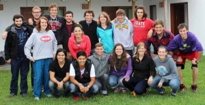 The Peru SST unit for Summer 2014 is shown several hours before their departure from Lima, Peru on July 27. They are (front row, left to right): Derek Schwartz, Alejandro Genis, Stefan Baumgartner, Miranda Earnhart, Emma Caskey, Jaime Stack, and (second row) Sierra Wheeler, Edith Fraire, Michael Darby and Joel Yoder and (back row) Andrew Leaman, Matt Wimmer, Derek Swartzendruber, Brian Sutter, Brody Thomas, Leah Amstutz, Tim Lehman and Lucas Harnish.