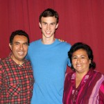 Joel with his host parents, Eduardo and Cecilia Nue Pereda.
