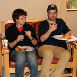 Brody and Brian enjoy breakfast.
