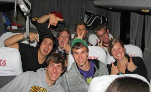 "Students in the back of the bus seem to be having the most fun, especially the last row – better known as the ""party row."""