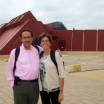 "Peru SST Co-Directors Richard R. Aguirre and Judy Weaver in front of the extraordinary museum in Lambayeque, which houses the burial artifacts of ""El Señor de Sipán,"" Peru's King Tut. Lambayeque is near Chiclayo."