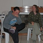 Jaime, left, and Leah cannot contain their laughter during a role-play.