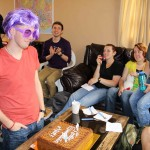 Matt was asked to wear a purple wig and matching eyeglasses to celebrate his birthday.