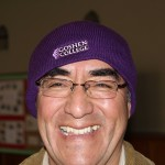 Moise Arce, who taught Spanish to Goshen College students, shows off his new cap. Peru SST Co-Directors Richard R. Aguirre and Judy Weaver gave Goshen College gifts to our three Spanish teachers.
