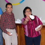 "Joel's host parents, Eduardo and Cecilia Nue Pereda, play ""cajon"" corn hole."