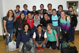 The Excellent 18 (minus Leah, who left early to visit relatives in Paraguay) gather for a final group photo on July 27, 2014.