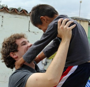 Student lifts a student.