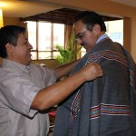 Peru SST Service Coordinator Willy Villavicencio presents a beautiful gift to Peru SST Co-Director Richard R. Aguirre.