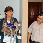 Peru SST Service Coordinator Willy Villavicencio presents a useful gift to Peru SST Co-Director Judy Weaver.
