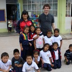 Brody, the principal and students at Jardín de Ninos Los Jazmines preschool.