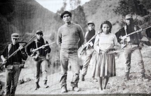 In Lar Mar, Ayacucho, in June 1985, soldiers stand with Ramon Laura Yauly and his wife, Concepcion Lahuana. They told soldiers that they were forced to join the Shining Path.